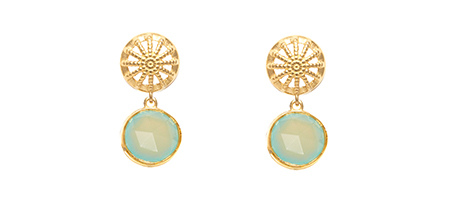 Assya Chalcedony and gold rocks drop earrings